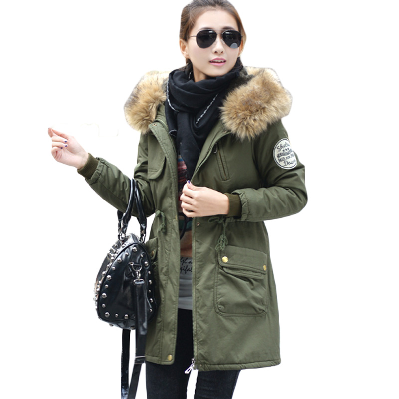 Women Winter Warm Jacket Adjustable Waist Overcoat Hooded Fake Fur Collar Washed Cotton Outwear Female Parkas Fashion Tops XH420