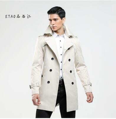 Double-breasted Mens trench coats man long coat men clothes slim fit overcoat long sleeve 2018 new designer spring autumn