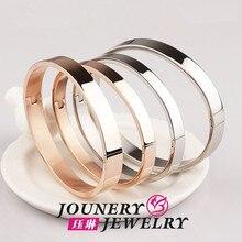 Rosa de oro/plata plateada smooth couble brazalete 2015 de la nueva llegada regalo de cumpleaños de la joyería fina de acero titanium mujer envío gratis
