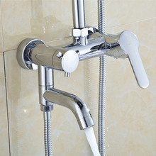 Free shipping Wholesale solid brass bath shower faucet with wall mounted bathroom shower mixer tap of chrome shower taps