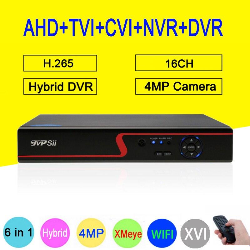 Rouge Panneau 4MP Surveillance H.265 + Hi3531D XMeye 16CH 16 Canal 6 dans 1 WIFI Coaxial Hybride NVR TVI CVI AHD CCTV DVR Livraison Gratuite