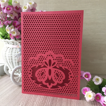 35pcs Laser Cut Flower Design Happy Birthday Greeting Blessing Wedding Party Dinner Decoration Invitations Cover Card
