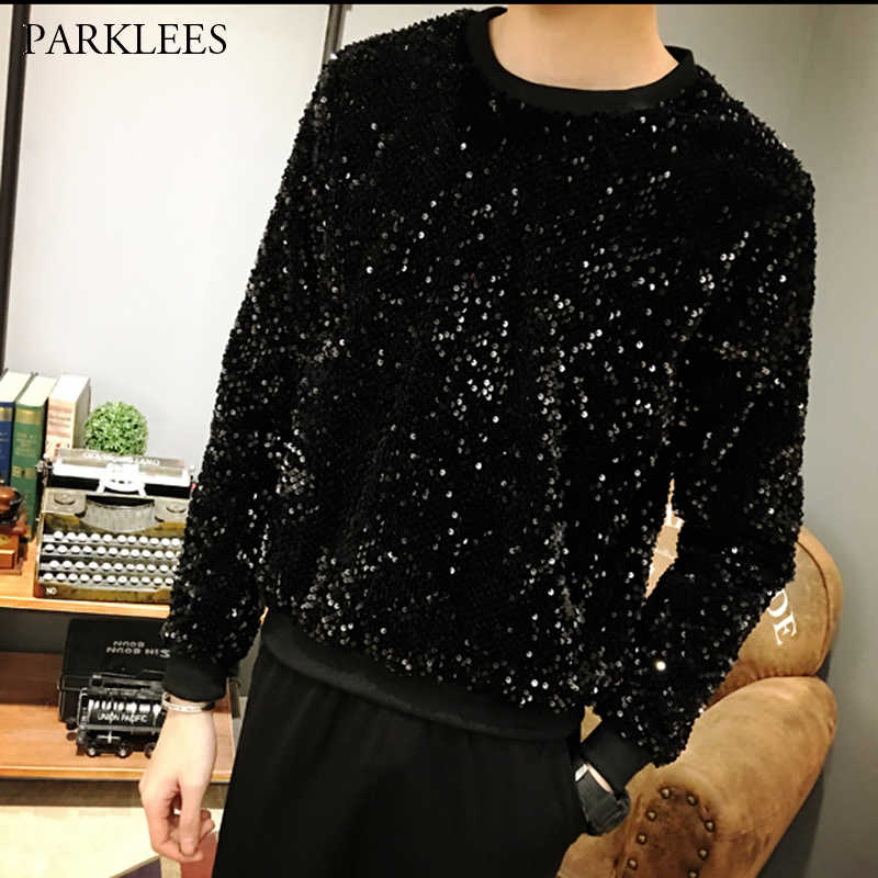 Mens Black Sequin Glitter Embellished Sweatshirts Hip Hop Streetwear Sweatshirt Men Nightclub Party Stage DJ Clothes for Male