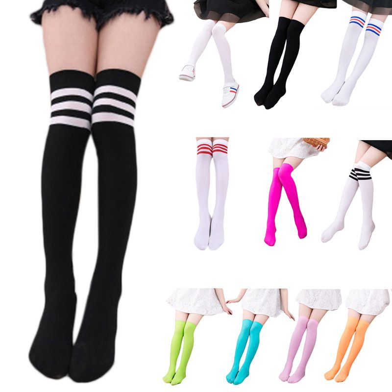 Kids Girls Autumn Long Tube Socks Bright Sweet Candy Color Child Princess Thigh High  School Student Over Knee Hosiery