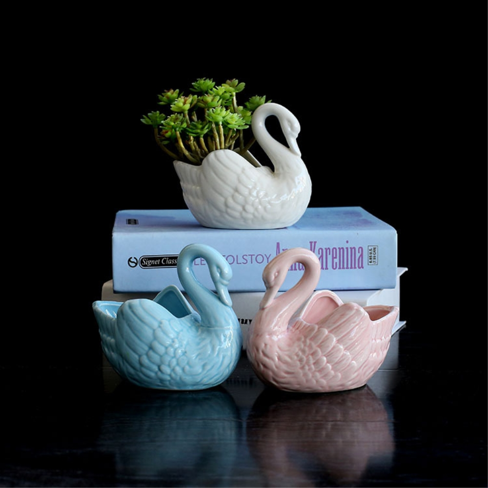 European Minimalist White Ceramic Flower Pot Hydroponics Succulent Little Swan Flower Pot Desktop Flowers Sky Blue Porcelain Pot