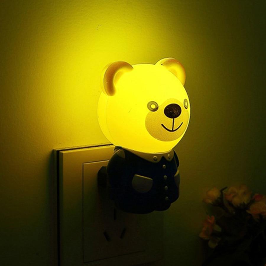 Thrisdar Cute Bear Tiger LED Night Light US Plug Wall Socket Light Bedroom Bedside Light Sensor Baby Kids Cartoon Night Light