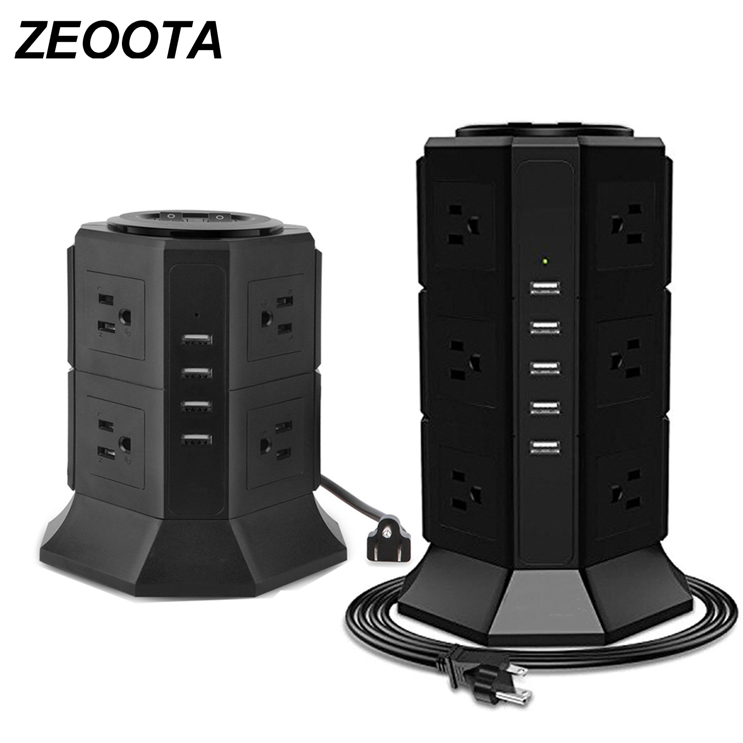 Power Strip Tower 12 US Outlet Surge Protector Electric Charging Station with 5 USB 6.5ft Extension Cord for Phones Tablets