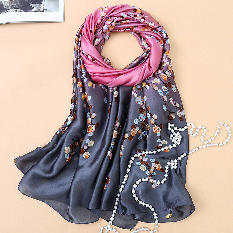 100% Natural Silk Women Small Broken Flowers   Scarf     Wraps   Brand Shawl Autumn And Summer Floral Pattern Silk   Scarf   Printed SK054