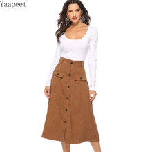 2019 New Vintage High Waist Large Swing Skirt Women Button Pocket Mid-calf Skirt Women Khaki Elegant Stretch Office A-line Skirt stretch knit swing skirt