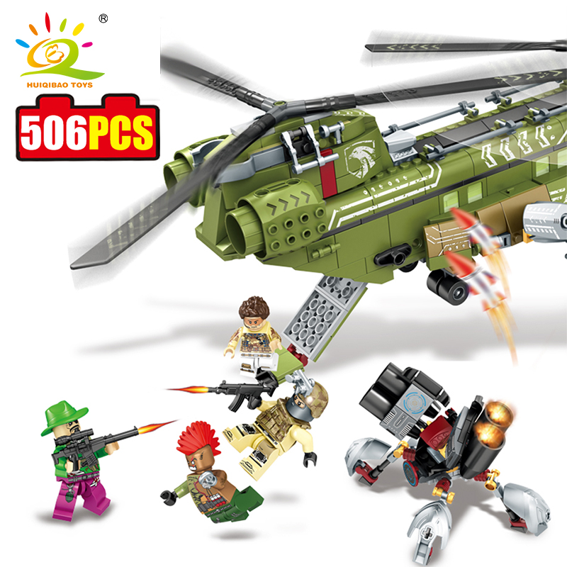 HUIQIBAO TOYS 506pcs Helicopter Military Series Building Blocks Compatible Legoed City Army Enlighten Bricks Toys For Children 354pcs enlighten city educational building blocks toys for children kids gifts military army plane biplane propeller