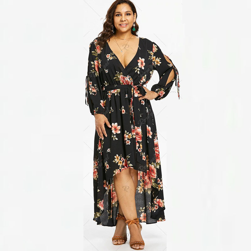 5XL Tall Women Sexy V Neck Vintage Black Flowers Print Plus Size Dress  Backless Bandage Lace Up Long Irregular Maxi Dresses 4XL-in Dresses from  Women s ... bc411b2a63f0