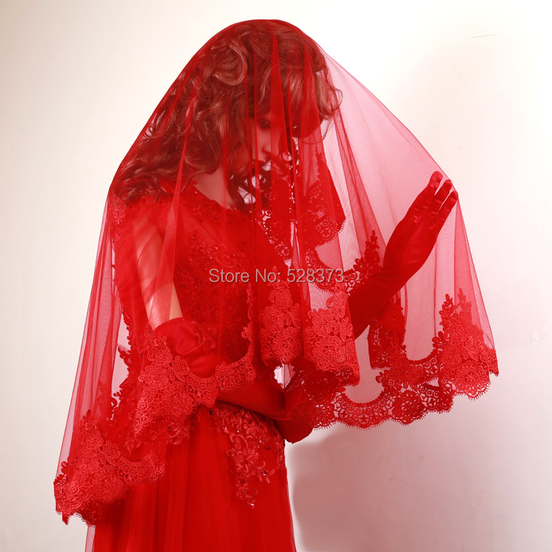 YNQNFS V17 Real Pictures Hair Decoration One Layer Venice Lace Facial Veil Bridal Veil 1.2m Long Short Wedding Veil Red Color