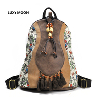Chinese Style Retro Design PU Leather Patchwork Women Backpacks Tassel Ethnic Floral Print Tibetan Travel Wood