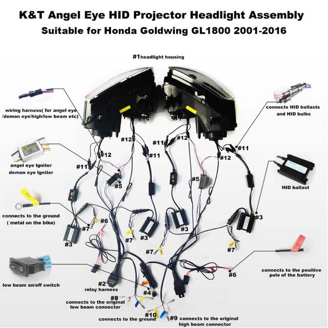 kt headlight for honda goldwing gl1800 2001-2017 led angel eye motorcycle  hid projector assembly