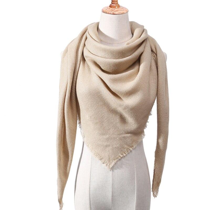 Бандана палантин платок на шею шарф зимний Дизайнер трикотажные весна-зима женщины шарф плед теплые кашемировые шарфы платки люксовый бренд шеи бандана пашмина леди обернуть - Цвет: c14