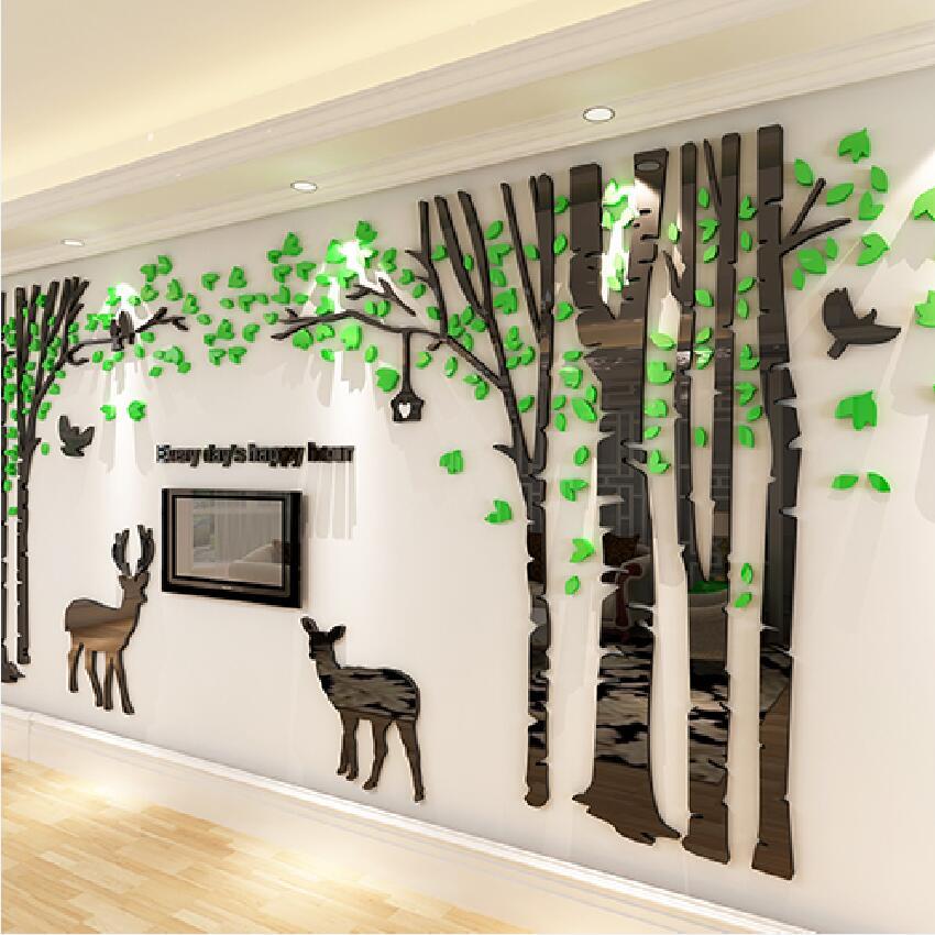 Grande forêt cerf en trois dimensions mur autocollant salon canapé enfants chambre mur décor à la maison cristal acrylique 3D autocollants arbre