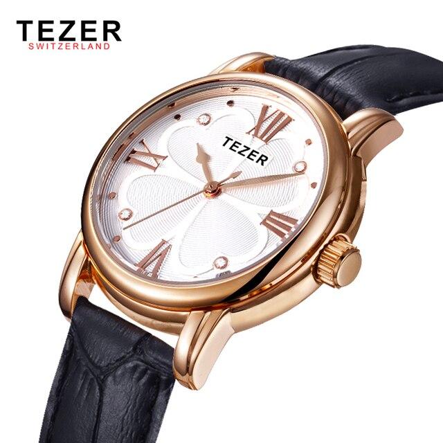 Новый TEZER Марка Женские Часы Моды Кожа Часы Водонепроницаемые Классические Женщины Кварцевые Часы Relogies Masculinos Золотые Часы