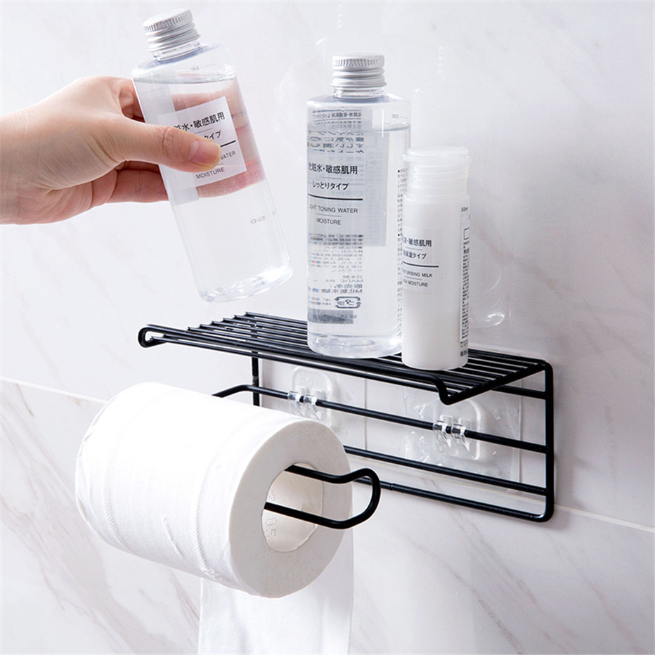 Bathroom Towels Storage Rack Makeup Cosmetic Storage Shelf Iron Toilet Roll Paper Holder Kitchen Tools Organizer1
