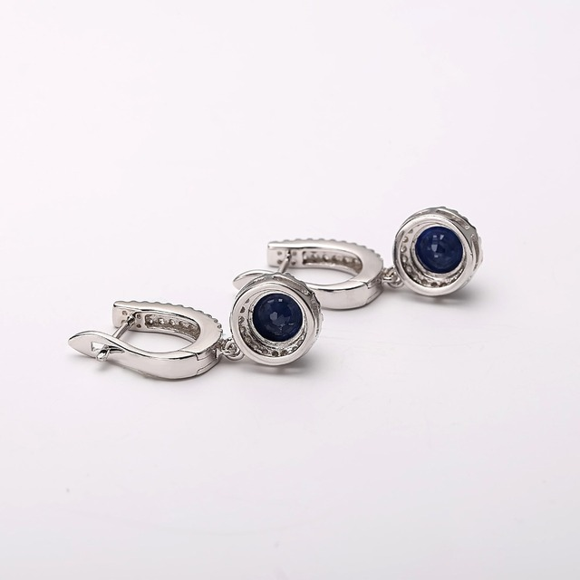 Gem's Ballet Natural Blue Sapphire Pure 925 sterling silver Charms Drop Earrings Fine Jewelry For Women  Vintage Fashion