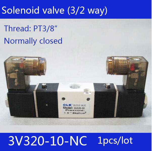 1pcs Free shipping 3V320-10-NC solenoid Air Valve 3Port 2Position 3/8 Solenoid Air Valve Single NC Normal Closed,Double control free shipping air solenoid valve 4v330c 10 double coil 3 8 bsp ac110v 5 3 way control valve plug type with red indicator light