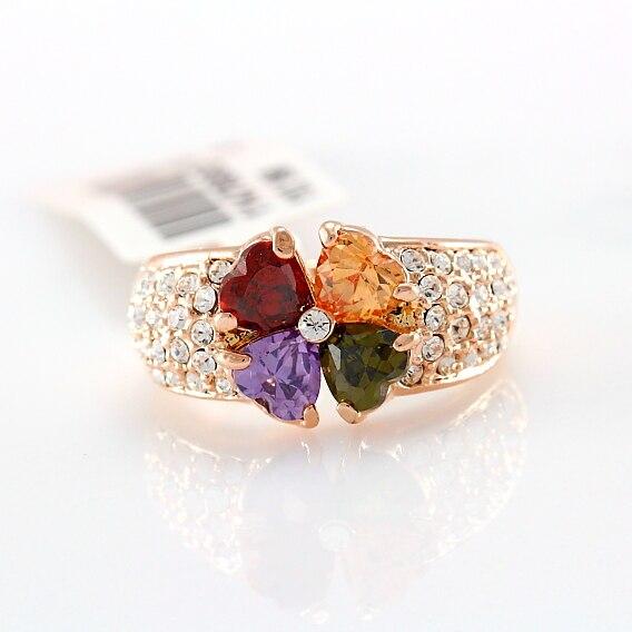 55eab6c6548 Multi - coração cores Cubic Zircons flor pequena cristais transparentes  pavimentada grande anel de dedo ouro