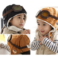 Baby earflap kid's caps with velvet ,Pilot hats boys, flight caps for autumn&Winter children's clothing sets gifts