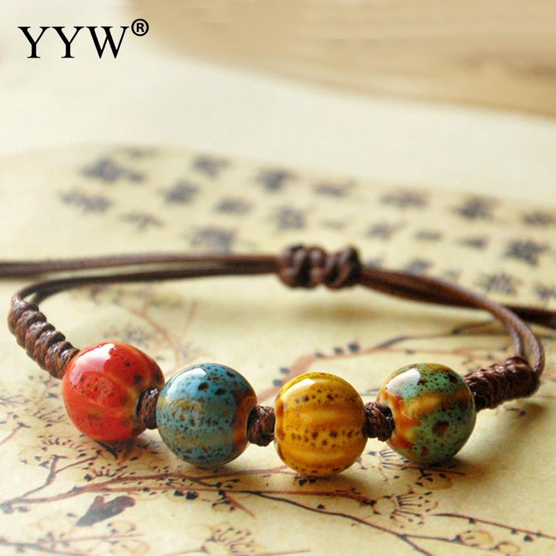 YYW Fashion Ethnic Style Original Ceramic Adjustable Waxed Nylon Cord Handmade Porcelain Beads Rope Bracelets For Women Men Gift