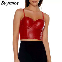 Black PU Leather Bustier Crop Tops Women Bralet Bra Tops Sexy Bandage Night Clubwear Push Up