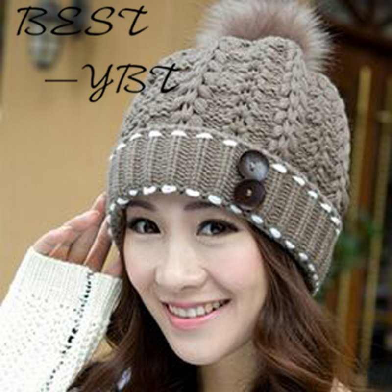 Korean Version of The New Two Buttons Big Ball Knitted Hat Autumn and Winter Ms. Warm Wool Cap Sleeve Head Ear Cap