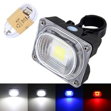Фотография Rechargeable COB LED 20W 500Lumen Bicycle light Bike rear back lamp USB +Battery