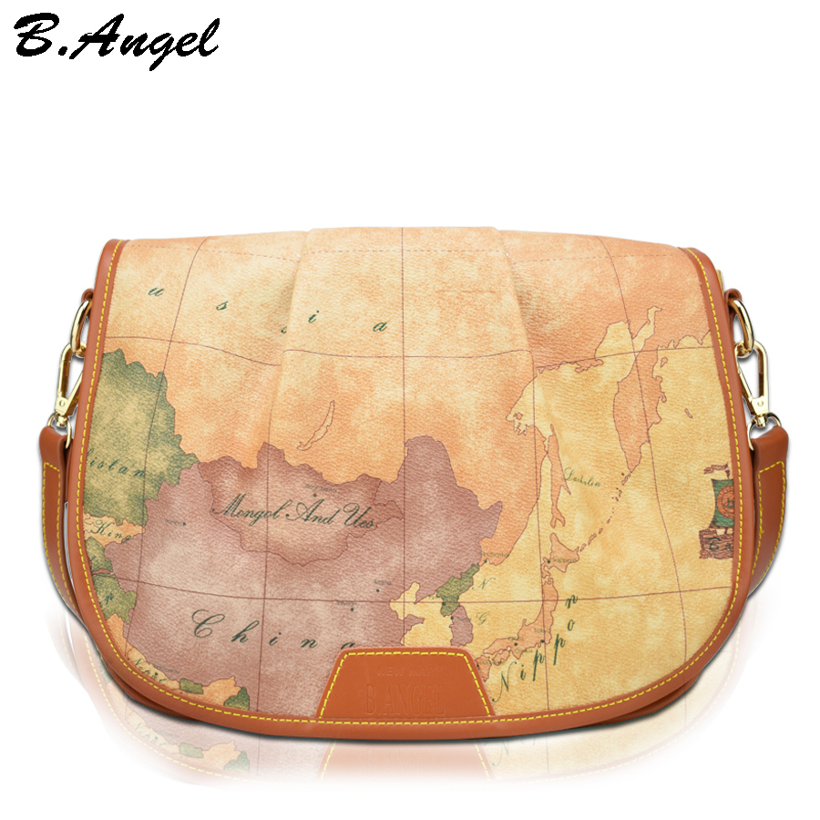 High quality world map women bag fashion women messenger bags brand design handbag special bag casual school bags Satchels  цена и фото
