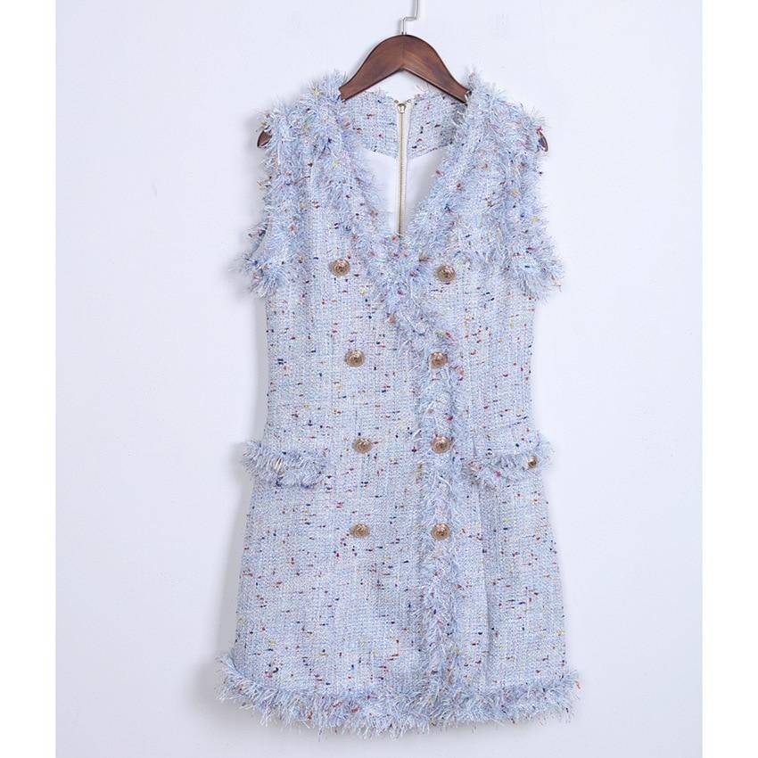 Colorful Metal Button Dress