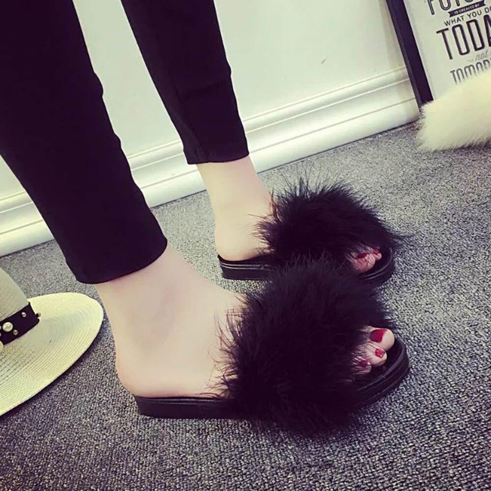 все цены на SAGACE 2018 Hot Fashion Womens Ladies Slip On Sliders Fluffy Faux Fur Flat Slipper Girls Sandal furry strand slippers