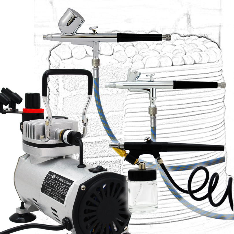 Professional 3 Airbrush Kit with AB 130 AB 136 AB 138 Airbrushes Air Compressor TC 20B