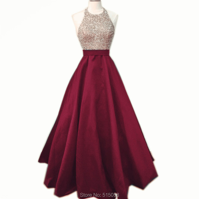 3f6a6665398 Beaded Halter Top Long Satin Burgundy Prom Dresses Ball Gowns 2017 Real  Sample Custom Made