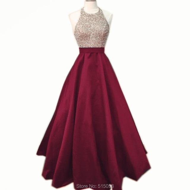 Beaded Halter Top Long Satin Burgundy Prom Dresses Ball Gowns 2017 ...