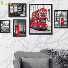British Red Architecture Travel Picture Wall Art Canvas Painting Bell Nordic Poster Posters Prints Bus Home Decor Unframed