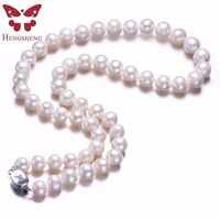 Weiß Echte Natürliche Nähe Runde Perle Schmuck Frauen Halskette, 925 Sterling Silber Schmetterling Schnalle, 8-9mm 45 cm Feinen Perlen Schmuck