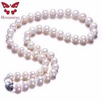 White Real Natural Near Round Pearl Jewelry Women Necklace,925 Sterling Silver Butterfly Buckle,8-9mm 45cm Fine Beads Jewelry