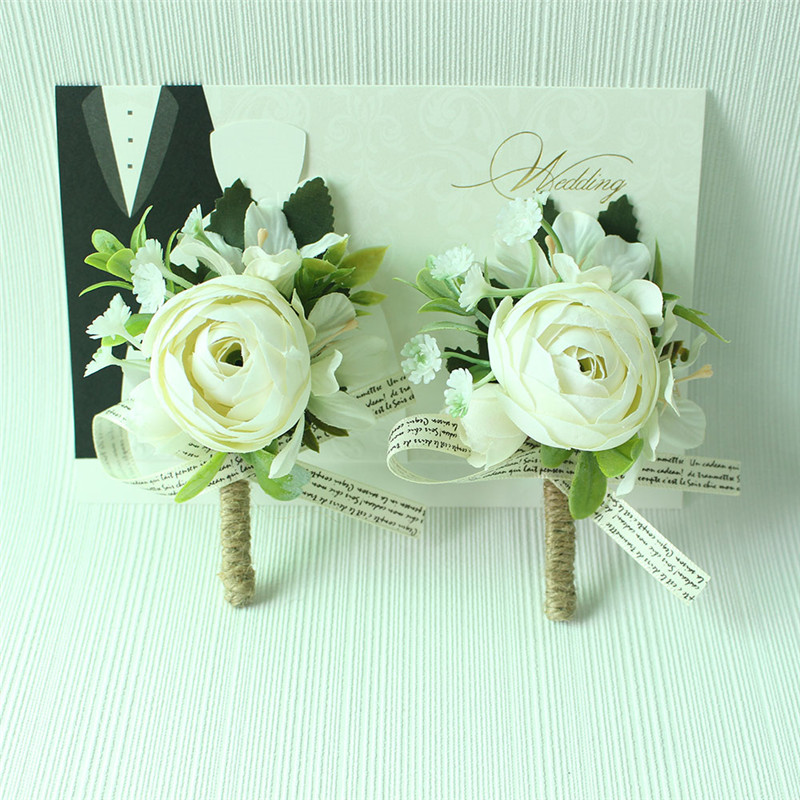 Lovegrace Wedding Men Boutonnieres And Wrist Corsages Green Plant Hand Flowers Brides Wrist Flower Blue Bridal Bouquet Accessory