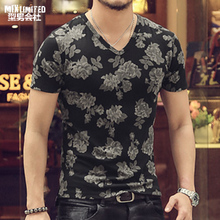 T-shirt Men 3D Print Flower Style Hip Hop Men T-shirts Retro V-neck 100% Cotton Casual Short Sleeve Top Tees 2018 MIX Brand 3XL