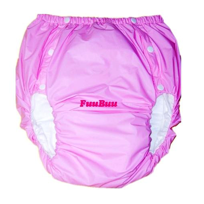 Free Shipping FUUBUU2043-PINK-L PVC/ Adult Diaper/ Incontinence Pants/Adult Baby ABDL