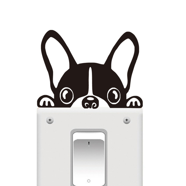 ZOOYOO Funny French BULLDOG Light Switch Sticker Animals Wall Decals Removable Window Decoration Wall Decor For Kids Room
