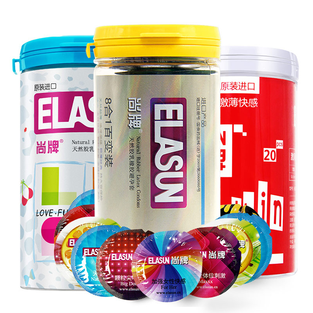 ELASUN Condoms 68 PCS Sexy Latex Dots Pleasure Nautural Rubber Penis Condoms for Men,Adult Sex Safer Contraception For Couples elasun condoms 24 pcs 8 types ultra thin ice and fire dotted natural latex double lubricated condoms sex toys for men