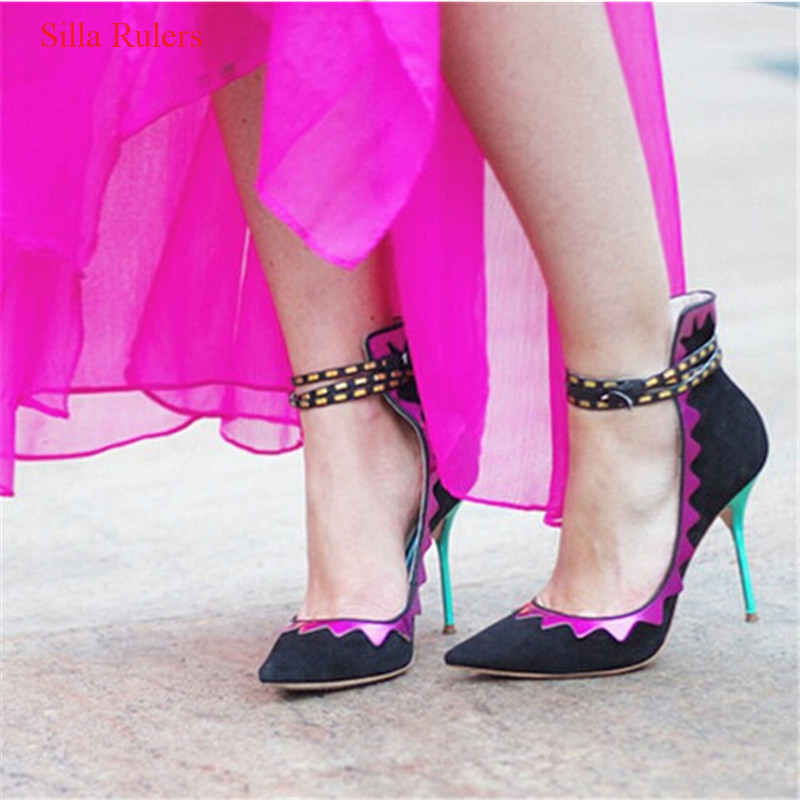 New Style Ethnic Women Pumps Pointed Toe Stiletto High Heels Mixed Color Patch Buckle Strap Women Shoes Woman Zapatos Mujer zapatos mujer pointed toe thin high heels sandals mixed color single shoes woman stiletto dress women pumps 2018