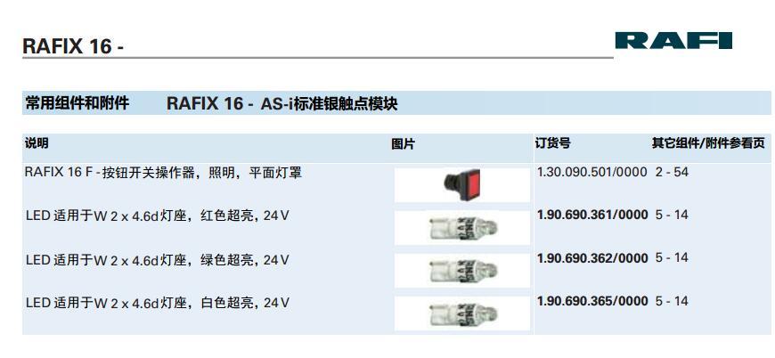 [VK] RAFI lumière LED interrupteur de remplacement de lampe 24 V 2x4. 6d blanc rouge vert lampe RAFI 1.190.690.365/0000 - 3
