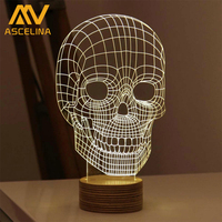 Hot Sale Magical Optical Illusion 3D Wood Mood Lamp Micro USB Table Glowing Base Skull Spiral