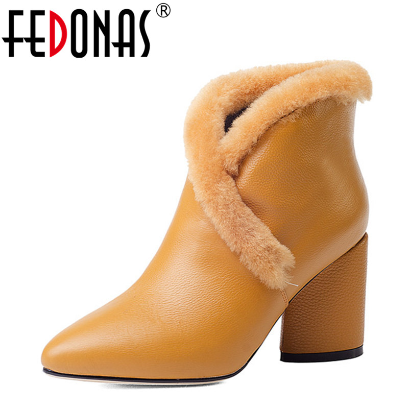 FEDONAS Women Boots Thick Heel Genuine Leather Wool Shoes Woman Autumn Winter Sexy Pointed Toe Snow Boots Women Ankle Boots new arrival superstar genuine leather chelsea boots women round toe solid thick heel runway model nude zipper mid calf boots l63