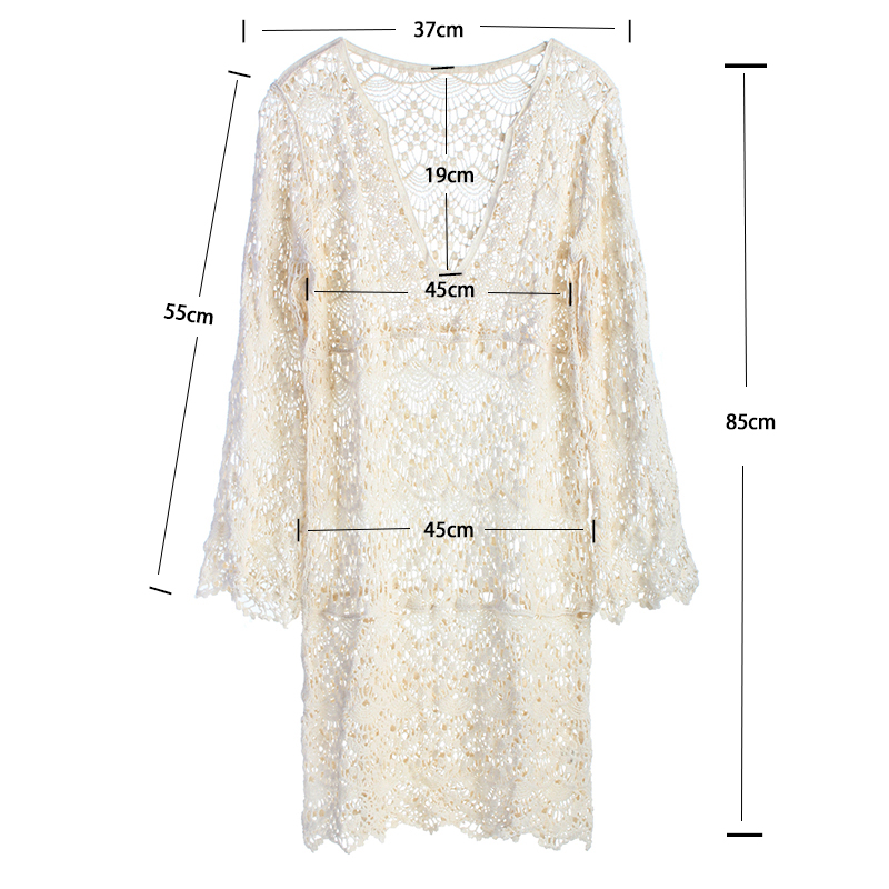 2018 Sexy Beach Cover up Crochet White Swimwear Dress Ladies Bathing Suit Cover ups Beach Tunic Saida de Praia  3