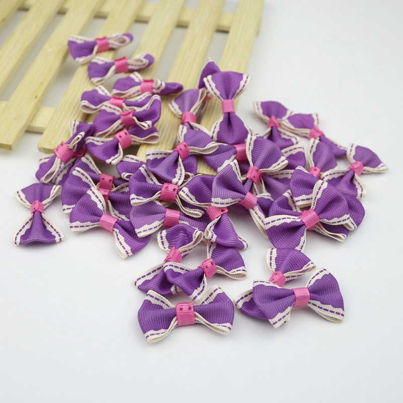 100PCS Party Wedding Decoration Crafts Ribbons Bow Satin Applique DIY Arts Beautiful Bowknot Tie Gifts Box Accessories (4X2.5cm)